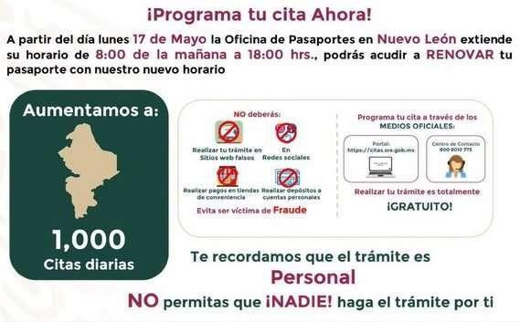 Amplían horario para renovación de pasaportes en NL