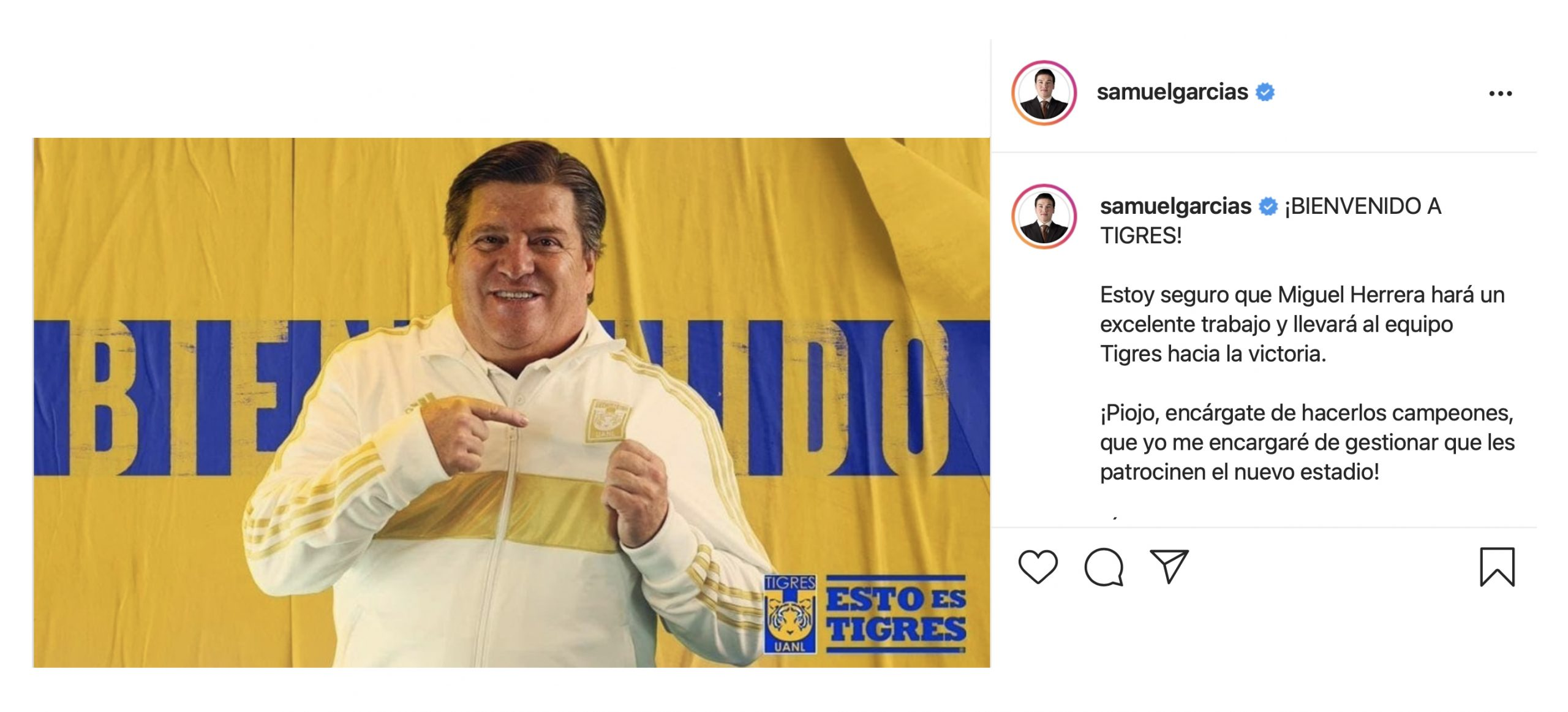 Samuel le manda mensaje al nuevo técnico de Tigres